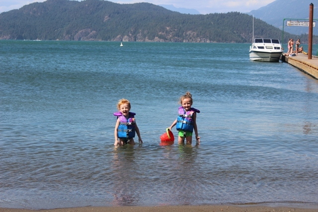 Fun at the beach in Harrison Hot Springs.